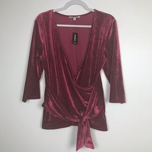 Express Ribbed Velvet Wrap Front Top XL NWT